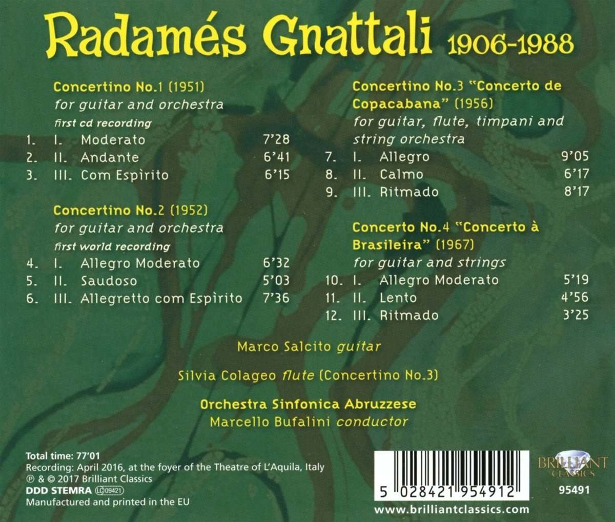 Radamés Gnattali - Concertinos for Guitar and Orchestra, Marco Salcito