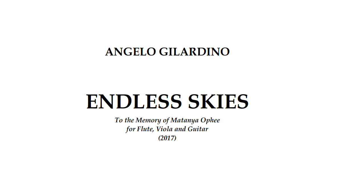 Angelo Gilardino, Endless Skies