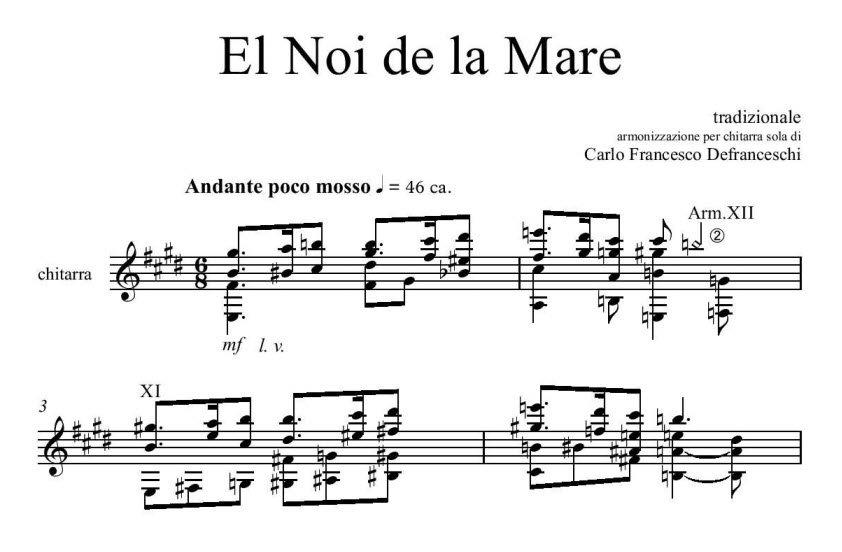 El Noi de la Mare, armonizzazione di Carlo Francesco Defranceschi