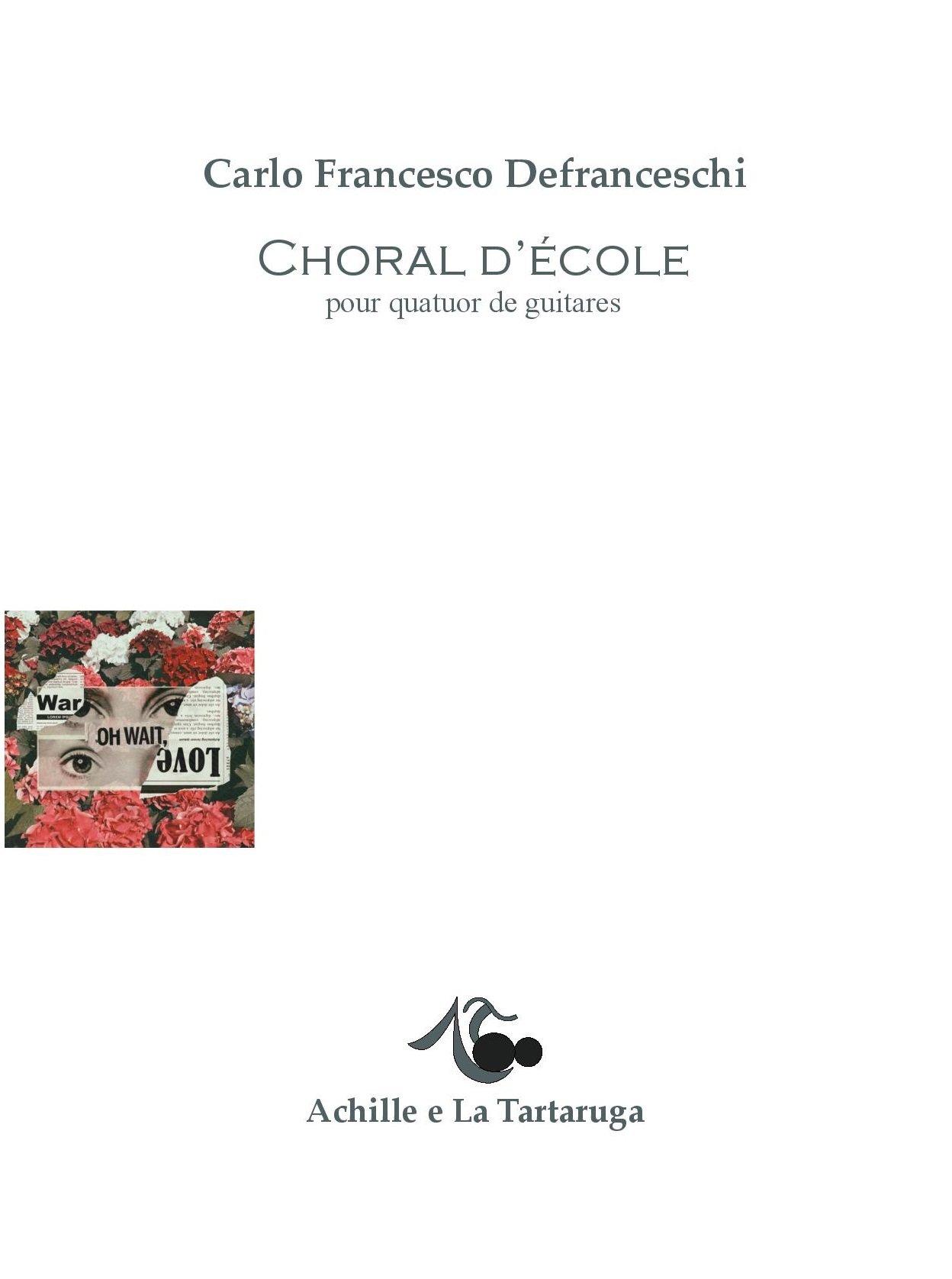 Choral d'école pour quatuor de guitares
